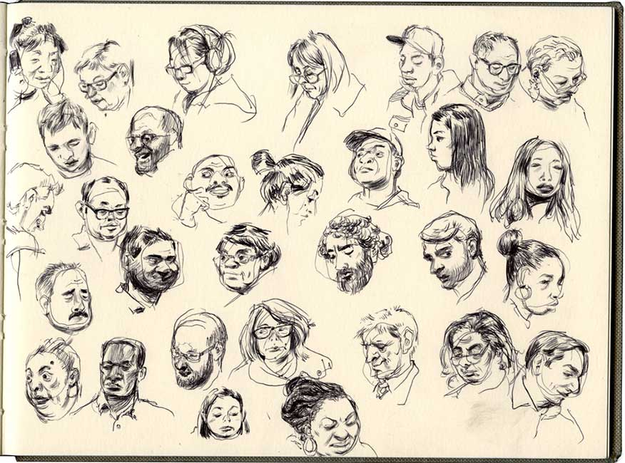 Robert MacKenzie - Metro North Commuters (Sketchbook Page)