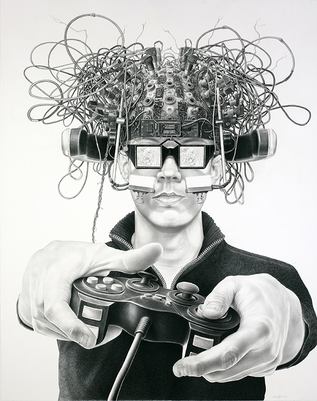 Laurie Lipton - AUGMENTAL, charcoal & pencil on paper, 170 x 134.6 cm