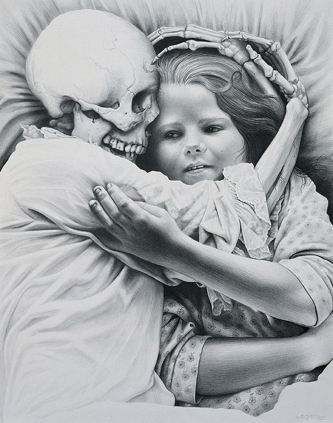 Laurie Lipton - DEATH & THE MAIDEN, pencil on paper, 43 x 34 cm