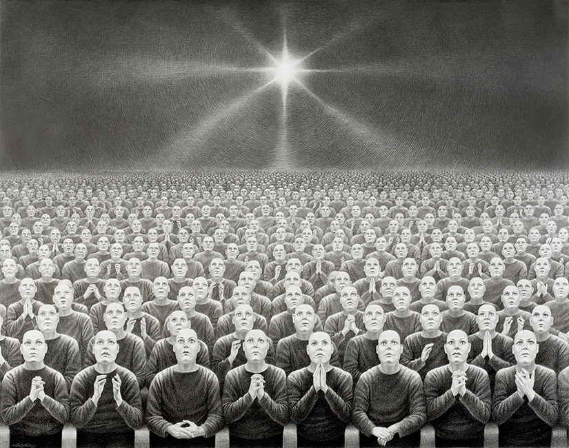 Laurie Lipton - DELUSION DWELLERS, charcoal & pencil on paper, 97.3 x 123 cm