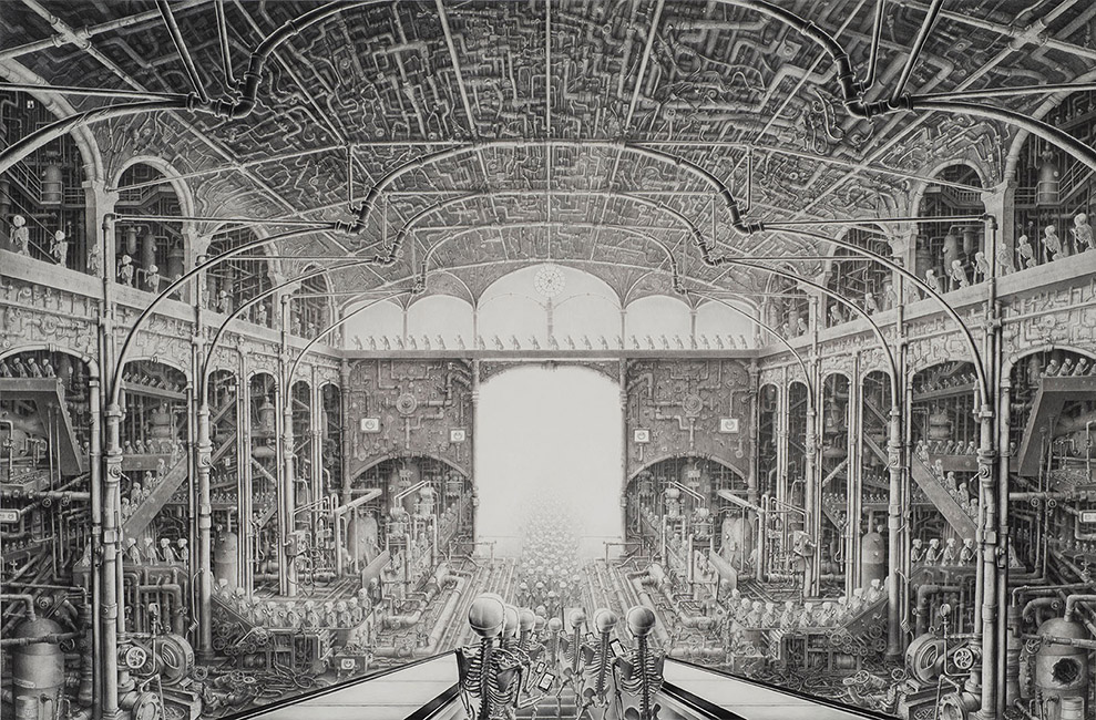 Laurie Lipton - HAPPY, charcoal & pencil on paper, 182.9 x 274.3 cm