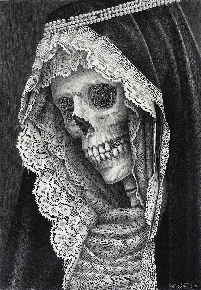 Laurie Lipton - LACHRYMOSE LACE, charcoal & pencil on paper, 57 x 40.2 cm