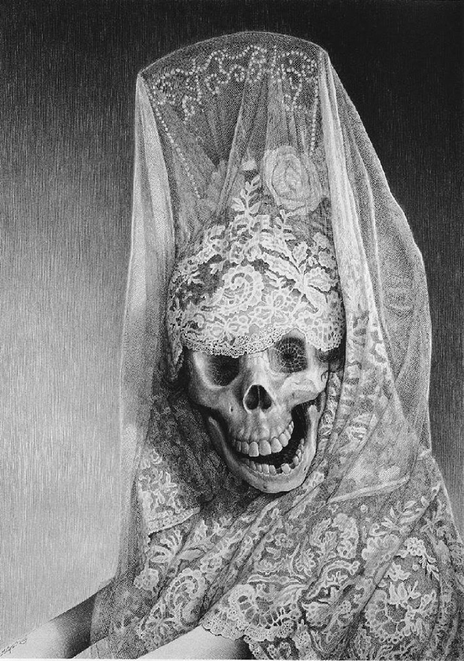 Laurie Lipton - LADY DEATH, pencil on paper, 58.3 x 40.6 cm