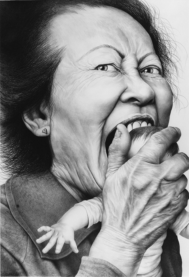 Laurie Lipton - LOVE BITE, charcoal & pencil on paper, 137.4 x 96.5 cm