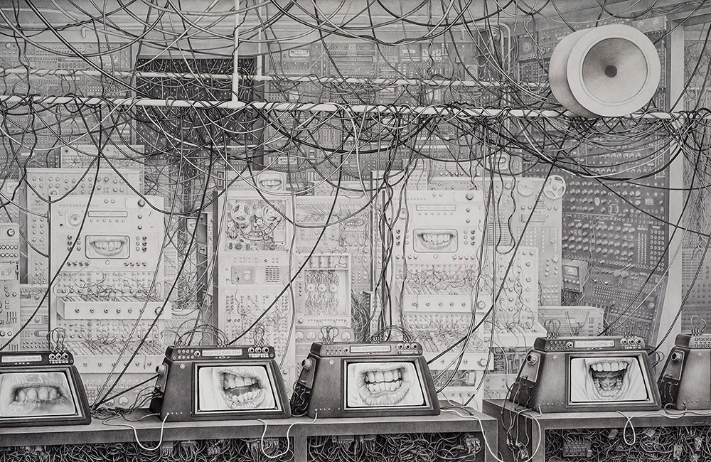 Laurie Lipton - NETWORK, pencil on paper, 135cm x 260cm