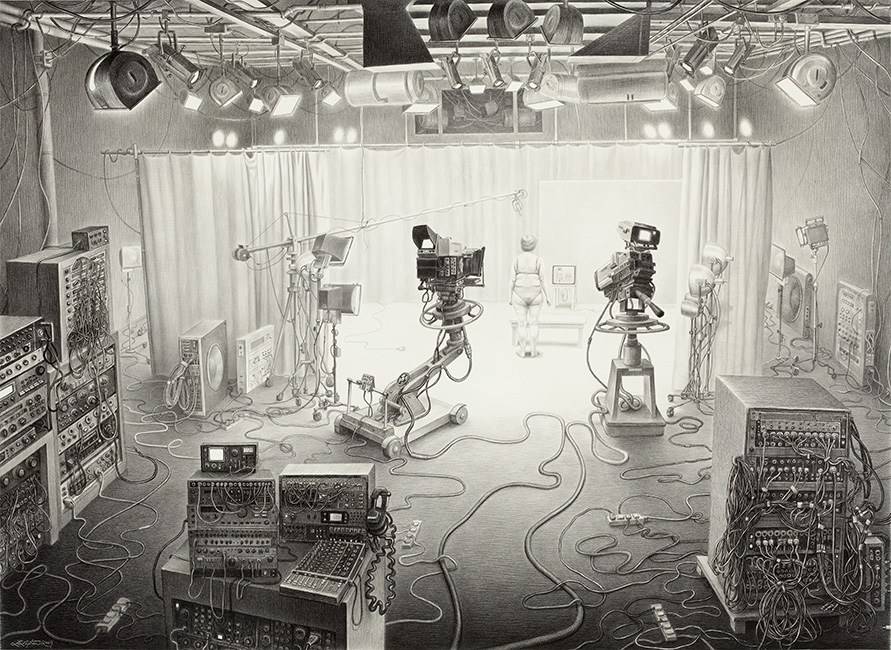 Laurie Lipton - REALITY TV, charcoal pencil on paper, 82 x 104 cm