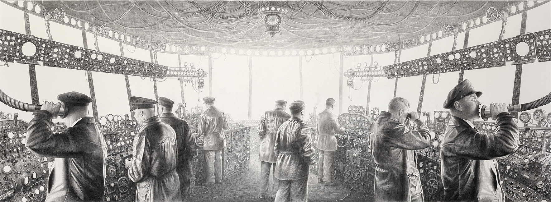 Laurie Lipton - THE ILLUSION OF CONTROL TOWER charcoal pencil on paper, 143.5 x 363.3 cm