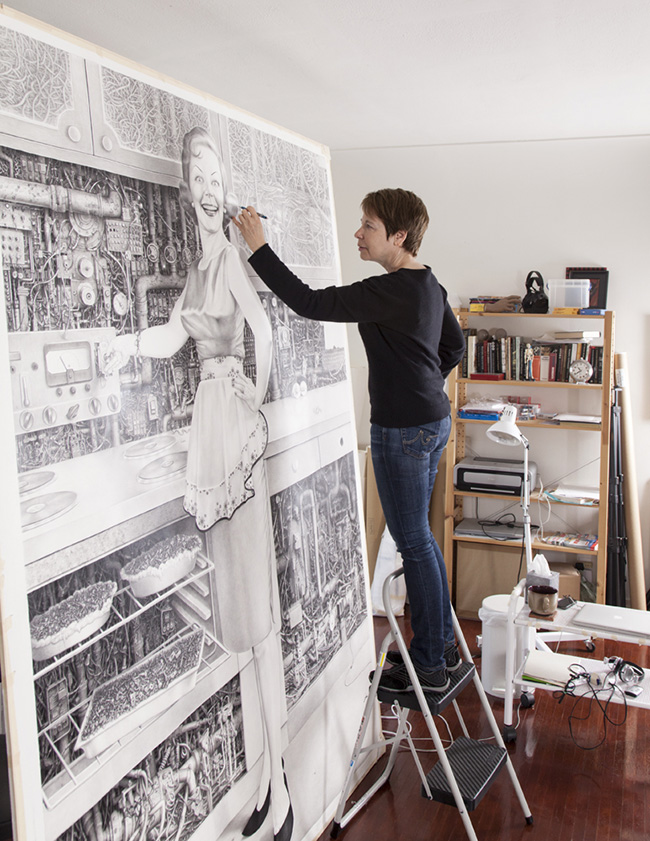Laurie Lipton in her studio, photo courtesy of Lucia Loiso