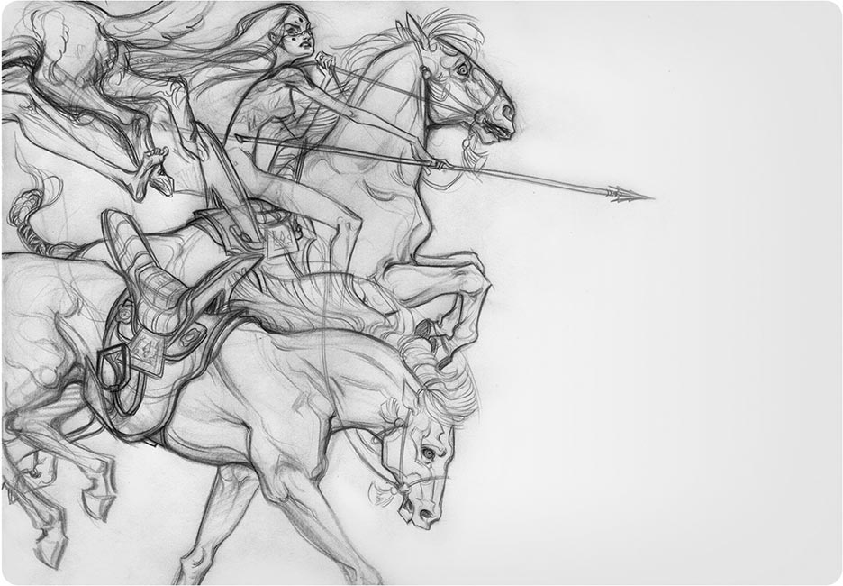 J.A.W. Cooper - Horse (Warrior Sketch)