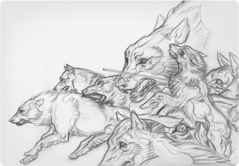 J.A.W. Cooper - Wolves (Warrior Sketch)