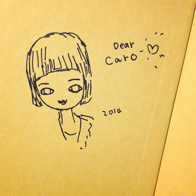 A Doodle that Aya Takano Drew of Caro When They Met in 2014