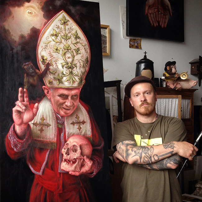 Jean Labourdette - Artist Standing Beside His 'Pope' Painting