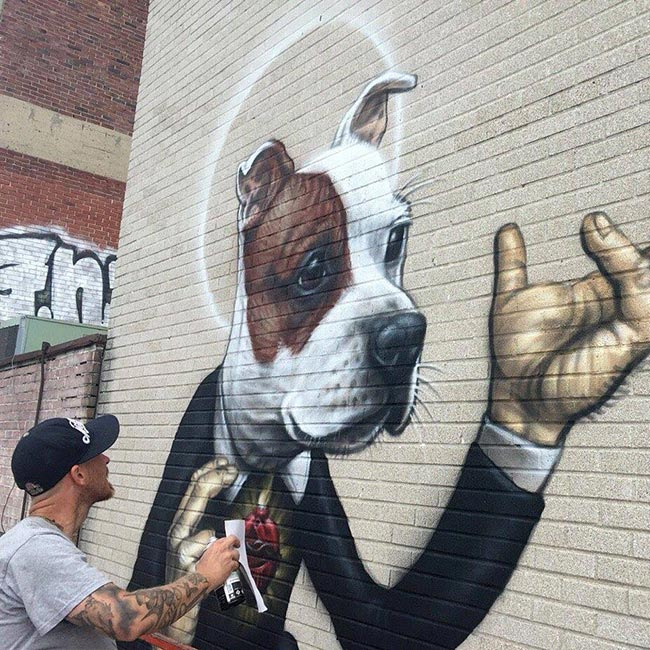 Jean 'Turf One' Labourdette - Artist at Work on End BSL Mural