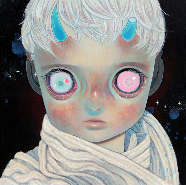 Hikari Shimoda - Blue Horns White Scarf