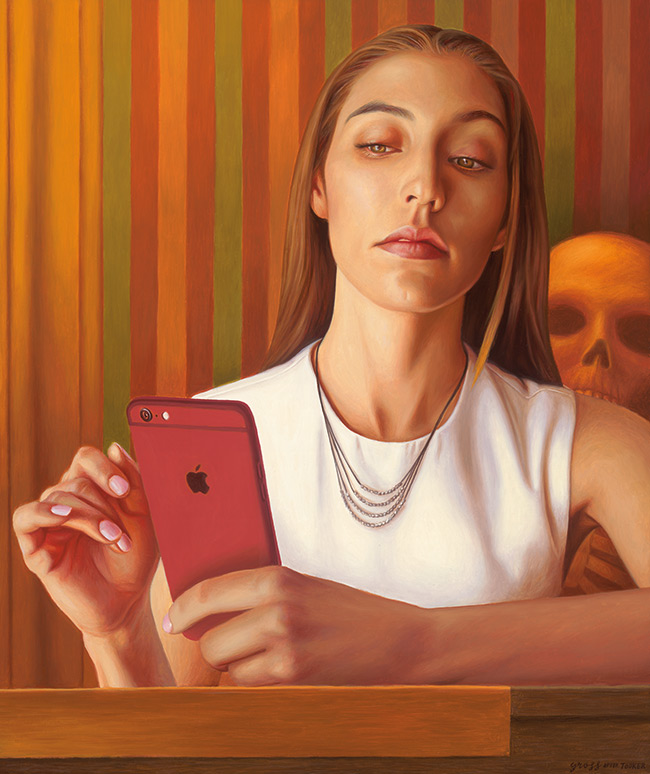 Alex Gross - Mirror (After Tooker)
