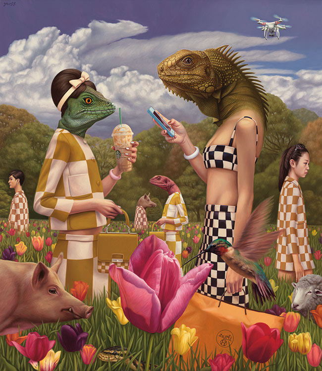 Alex Gross - Sunday in the Park with Reptilians