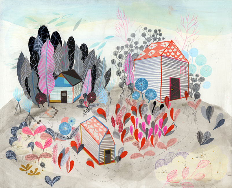 Betsy Walton - Three Houses in the Field
