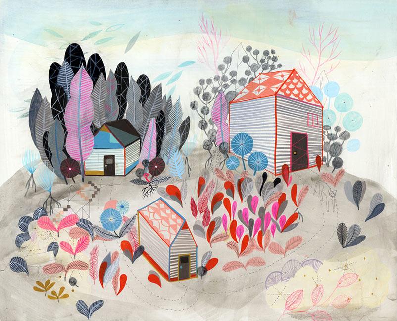 Betsy Walton - Three Houses in the Field