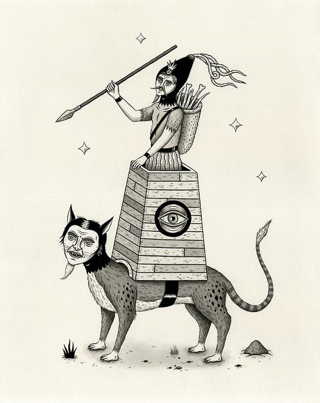 Jon MacNair - Armed Warrior Atop Large Cat