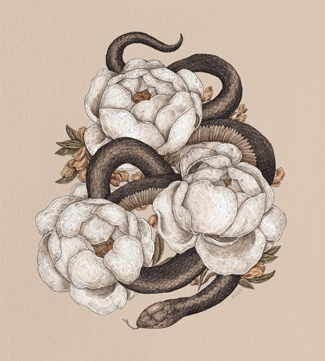Jessica Roux - Snake and Peonies