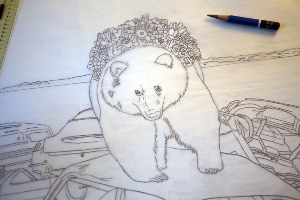 Amy Guidry - Bear (Drawing in Progress)