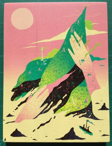 Scott Balmer - Journey to the Isle of Titans (Print on Wood)