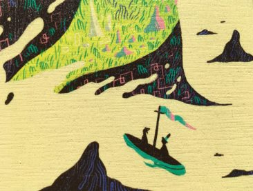 Scott Balmer - Journey to the Isle of Titans (Print on Wood - Detail 2)