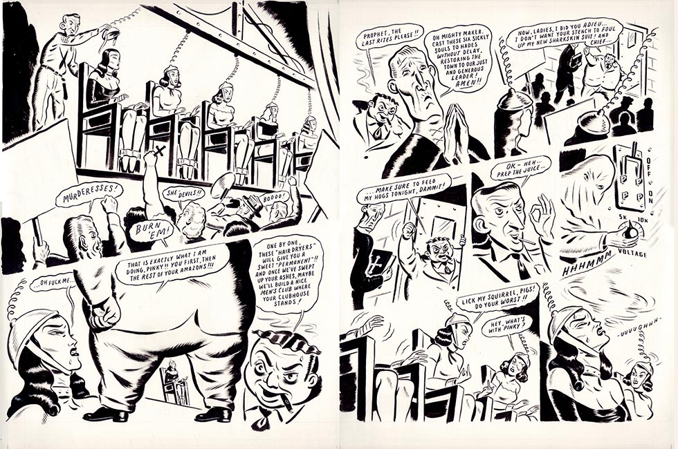 Ryan Heshka - Mean Girls Club Comic Art p64 and p65