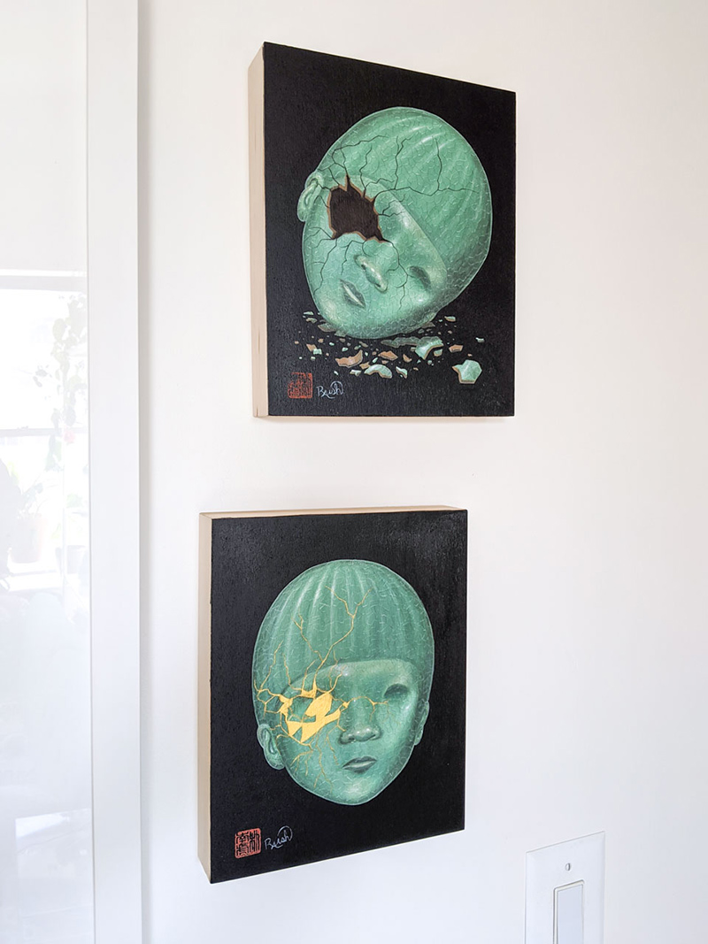 Jason Raish - Celadon and Kintsugi (Hung - Pair)