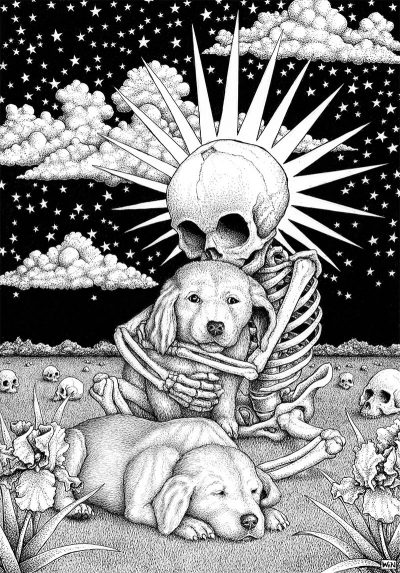 Win Wallace - Skeleton with Dogs